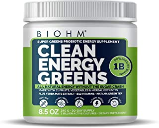BIOHM Clean Energy Greens with Probiotics, Super Greens Superfood, All Natural Energy Powder Without Sugar Crash, 31 Natur...
