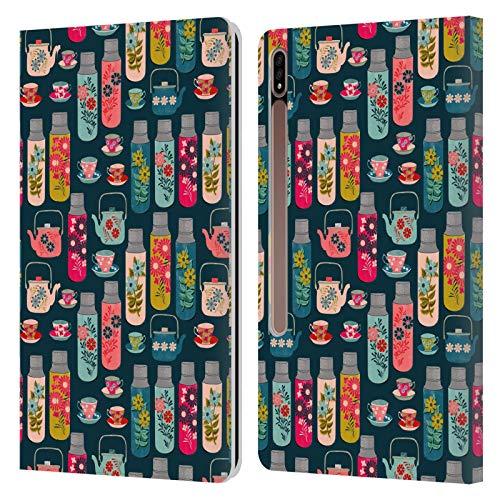 Oficial Andrea Lauren Design Frascos y Tazas de Taza Patrón de Carcasa de Cuero Tipo Libro Compatible con Galaxy Tab S7+ / Tab S7 Plus 5G