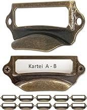 FUXXER® - 10x etiketvensters, metalen handgrepen in antiek messing look, sleuven voor apothekerskasten, indexkasten, laden...
