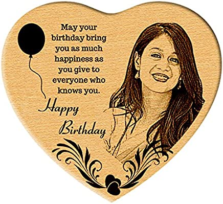 Incredible Gifts India Happy Birthday Gift - Heart Shaped Wooden Engraved Photo