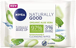 NIVEA Naturally Good Biodegradeable Facial Cleansing Wipes with Organic Aloe Vera, 25pcs, 25 count