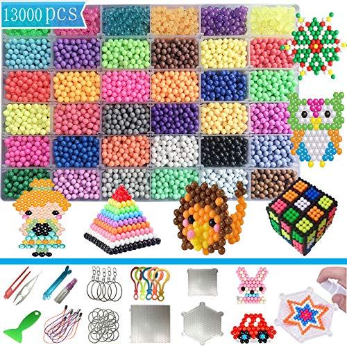 MOLYHUA 13000 Perlen Bastelperlen Aquabeads Nachfüllset Starter Set Mädchen 36 Farben 5mm Kristallperlen mit Stiftplatten Kompatibel Kollektion für Kinder DIY Herstellung Bastelset Spielzeug