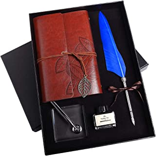 Stanpetix Quill Dip Pen Calligraphy Feather Pen Ink Set with Notebook and Pen Holder in Gift Box (Blue)