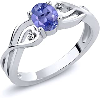 Sterling Silver Oval Blue Tanzanite and White Diamond Ring 0.46 cttw (Available 5,6,7,8,9)