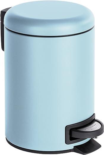 WENKO Kosmetik Treteimer Leman Blau 3 l – Kosmetikeimer, Mülleimer Fassungsvermögen: 3 l, Stahl, 17 x 25 x 22.5 cm, Hellblau