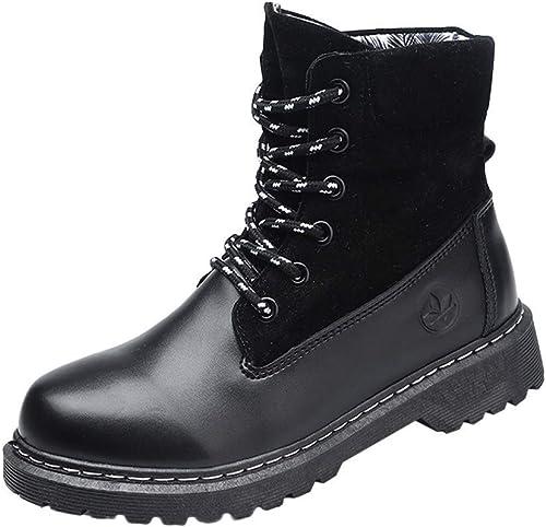 Qiusa botas de mujer, moda Entrenamiento al aire libre con cordones zapatos Martin Casual botas de montar de tobillo Cómodos antideslizantes Cabeza rojoonda Bota plegable Utilidad botas de vaquero impe