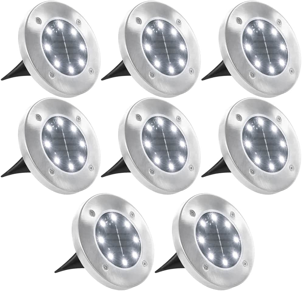 Solar Long-awaited Ground Lights 8 pcs Quantity limited LED Disk Outdoor Sidewalk