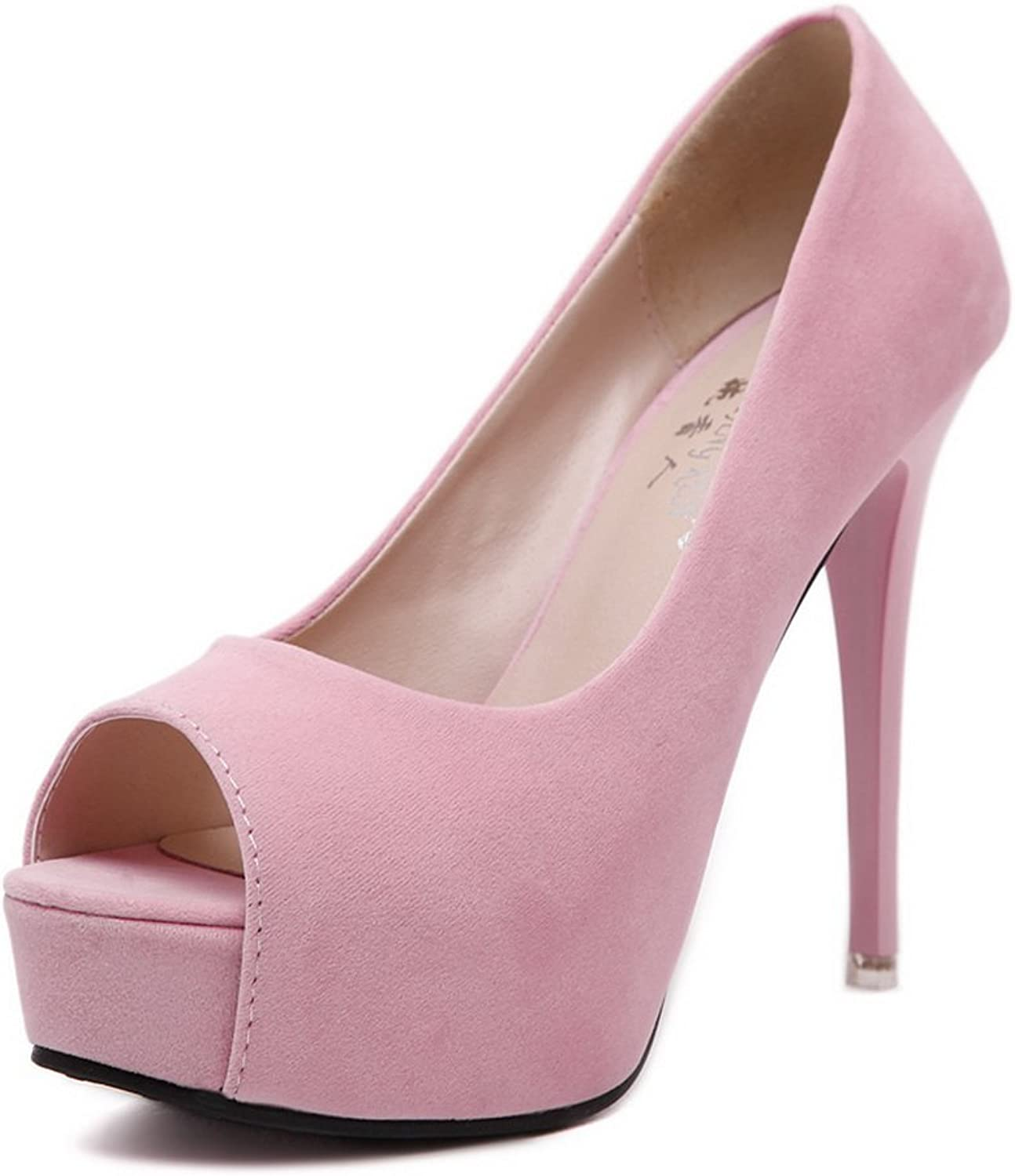 1TO9 Womens Spikes Stilettos Platform Peep-Toe Pink Suede Pumps shoes - 7 B(M) US