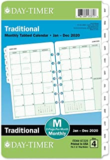 """Day-Timer 2020 Monthly Planner Refill, 5-1/2"""" x 8-1/2"""", Desk Size 4, Two Pages Per Month, Loose Leaf, Traditional (87229)"""