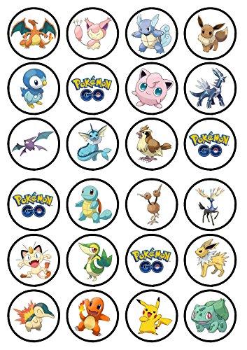 Lot de 24 décorations en papier de riz gaufré comestible pour gâteaux, thème Pokémon Go #2 Catcher. Papier avec épaisseur de qualité supérieure et parfum vanille sucrée.
