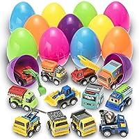 PREXTEX Huevos de Pascua de Juguete Rellenos con Vehículos de Construcción a Cuerda