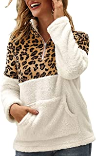 Ramoug Women's Leopard Fuzzy Hoodie Faux Fur Coat Shearling Pullover Sweatshirt