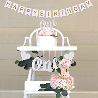 Hurriman One High Chair Banner One Cake Topper and Happy Birthday Banner for Baby 1st First Birthday Party (Glitter Silver)