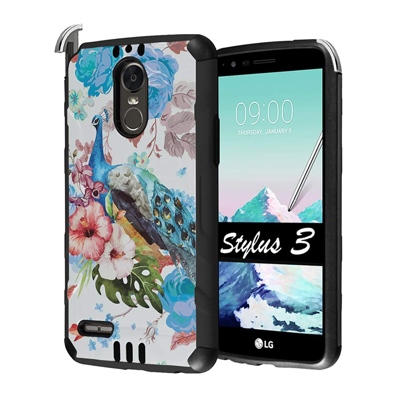 Capsule Case Compatible with LG Stylo 3, LG Stylo 3 Plus [Hybrid Dual Layer Supports Qi Wireless Charging Slim Defender Armor Combat Case Black] for LG Stylus 3 - (Flower Peacock)
