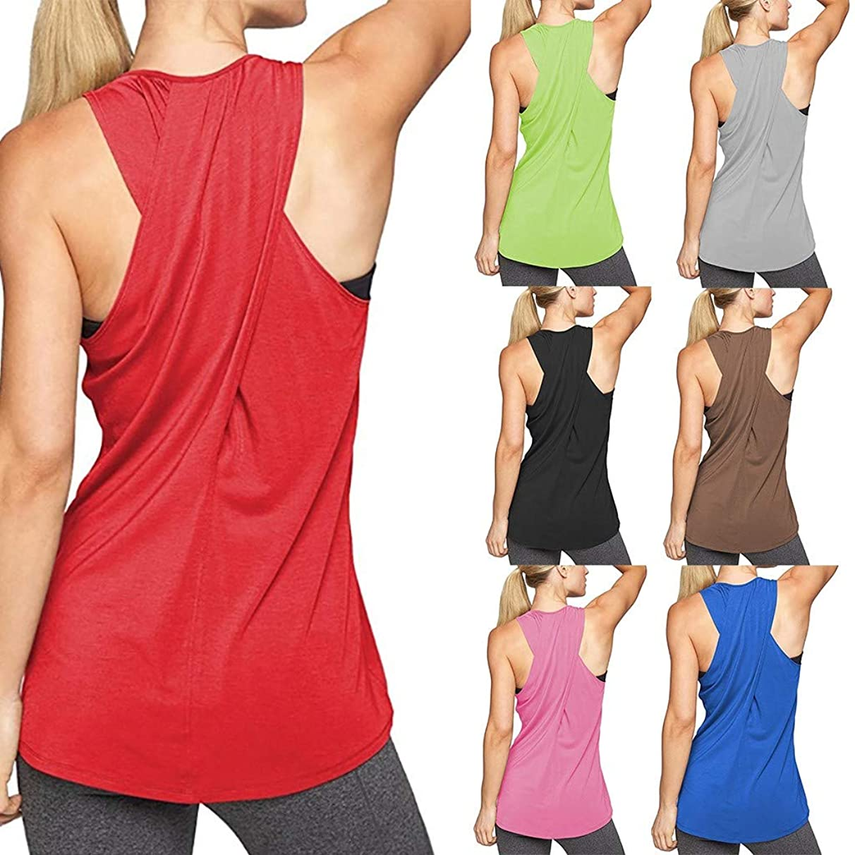 Nacome_Promotion Womens Tops,Summer Activewear Running Workouts Clothes Yoga Racerback Tank Tops