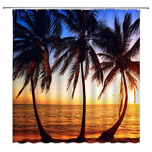 Sunhe Ocean Beach Palm Tree Shower Curtain Tropical Sea Beach Sunset Blue Yellow Sky Palm Trees Hawaii Turquoise Traveling Seaside Landscape Fabric Bathroom Decor Curtain with Hooks