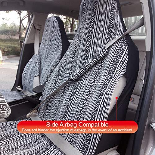 Copap(コーパープ)カーシートカバーエスニック風柄3前席シートカバー2個+シートベルトカバー2個入りおしゃれかわいいマルチカラー軽自動車普通車フロント座席適用