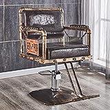 MOye Silla Retro salón Sillas de Barbero 150kg Silla de Peluquería Hidráulica PU Cuero Silla de Peluquería Hydraulic Barber Chair para SPA,Brown,B