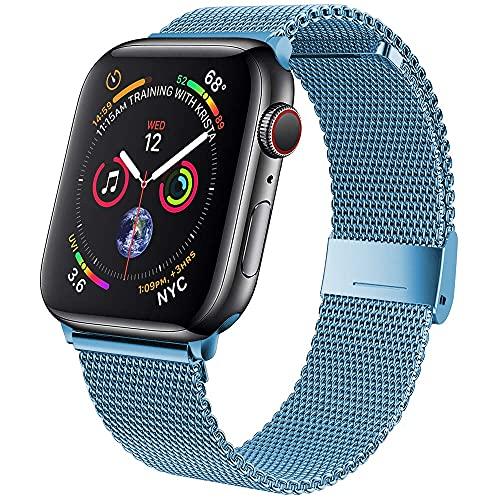 Hspcam Correa para Apple Watch Band 44mm 40mm iWatch 38mm 42mm Correa de metal correas de bucle magnético pulsera para iwatch series 5 4 3 se 6 (38mm o 40mm, azul cielo13)
