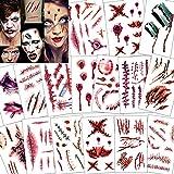 Konsait 118pcs Halloween Tatuajes Temporales, Halloween Zombie Horror Cicatrices Heridas Tatuajes Pegatinas Hombre Mujer Halloween Maquillaje Disfraz decoraciones