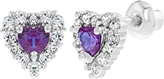 Rhodium Plated Small Purple Clear Crystal Heart Screw Back Earrings Baby Girl