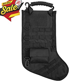Tactical Christmas Stocking Bag Military Dump Drop Magazine Storage Bag EDC Molle Pouch for Christmas Decoration Gifts Outdoor Hunting Shooting Military, Black