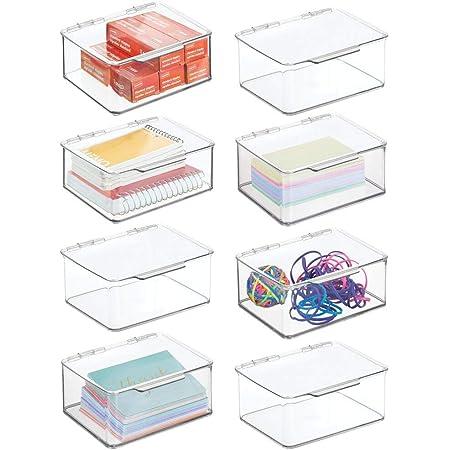 mDesign organiseur bureau pour ranger stylos, bloc-notes, etc. (lot de 8) – boite de rangement en plastique sans BPA – boite avec couvercle pour tous types d'objets – transparent