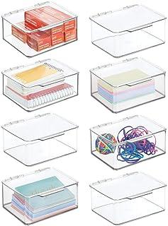 mDesign zestaw 8 pudełek do przechowywania – małe pudełko z pokrywką na artykuły papiernicze i inne materiały biurowe – pl...