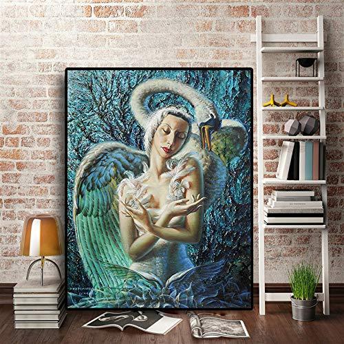 SADHAF beroemde schilder creëert olieverfschilderij afdrukken op doek en pop-art wandfoto-decoratie 30x40cm (kein Rahmen) A1.