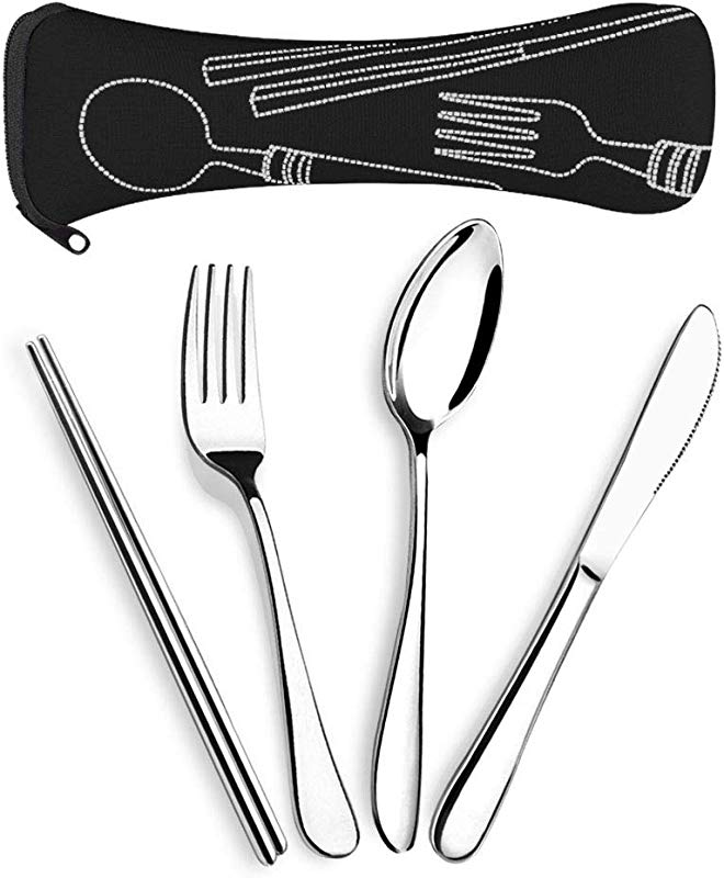 SUPERSUN 4 Pieces Reusable Traveling Utensils Travel Knife Fork Spoon Chopsticks Set Camping Cutlery Set With Neoprene Case Lunch Flatware Set Portable Utensils Silverware Set