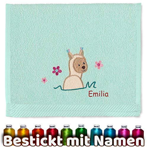 Sterntaler kinder/baby handdoek met geborduurde naam, meisjes kinderhanddoek gepersonaliseerd, cadeau verjaardag, kerstcadeau, Pasen, doop 30 x 50 cm Lama mintgroen
