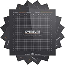 OVERTURE 3D Build Surface 200mm x 200mm (7.88'' x 7.88'') Upgraded 3D Printer Build Plate Sheet Heat Bed Platform Sticker with Laminated Transfer Adhesive, 10mm Grid, Black (5 Packs)
