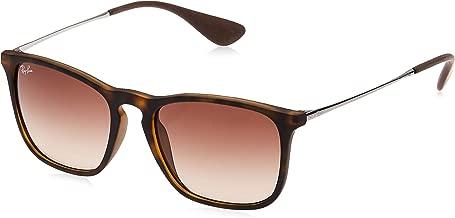 RAY-BAN RB4187 Chris Square Sunglasses, Rubber Havana/Brown Gradient, 54 mm