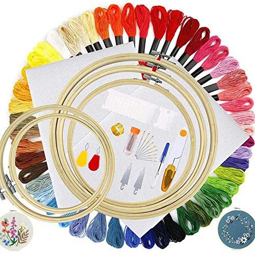 JuguHoovi Stickerei Set, Kreuzstich Starter Kit 50 Farbe Fäden Sticken Set Erwachsene Embroidery Kit mit 5 Stück Bambus Stickrahmen,12 von 18-Zoll 14 Count Classic Reserve Aida und Nadeln Set