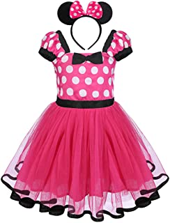 OBEEII Minnie Costume Baby Girl Tutu Dress Mouse Ear Headband Polka Dot First Birthday Halloween Fancy Dress Up Princess Outfits