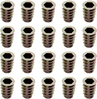 M8 x 20mm Countersunk Nuts with Internal and External Teeth, Interface Hex Socket Threaded Insert Nuts for Wood Furniture,20pcs