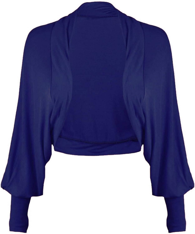 GirlsWalk Women's Long Batwing Sleeves Plain Front Open Bolero Shrug Top