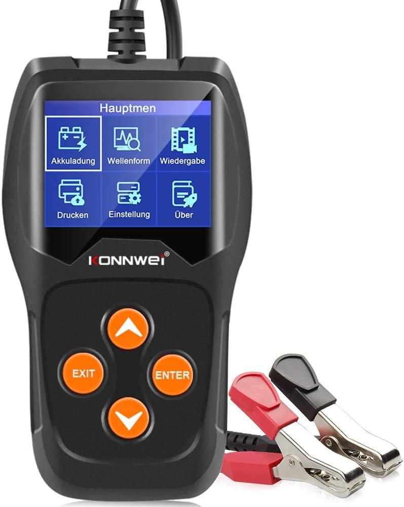 KONNWEI KW600-DE KW600-Comprobador Profesional de 12 V, 100-2000 CCA 220 Ah, Herramienta de Prueba de batería para Coches, Barcos, Motocicletas y más