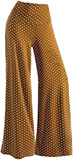 Women's Casual Solid Dot Stretchy Wide Leg Palazzo Lounge Pants