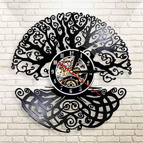 NIUMM Vinyl Wanduhr Baum des Lebens Wandkunst Wanduhr Heiliger Baum Vintage Vinyl Schallplattenuhr Grünes Leben 3D Silhouette Schatten Wanduhr-Mit Led