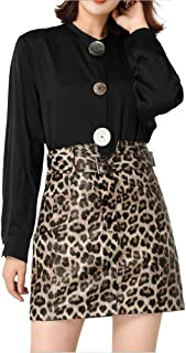 JUSSON Women's Short Skirt Sheepskin Leopard Skirt Sexy Bag Hip High Waist A-line Leather Skirt