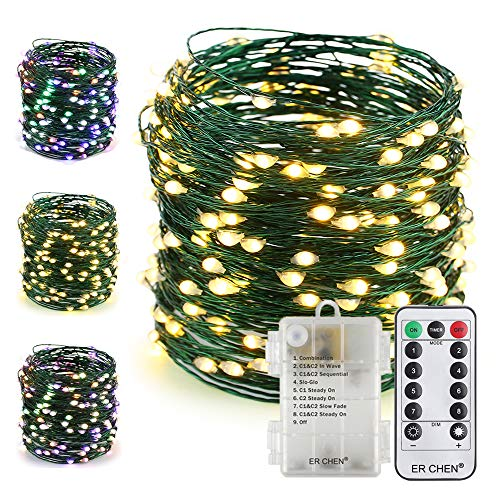 ER CHEN Color Changing Battery Operated Fairy String Lights with Remote Timer, 66Ft 200 LED 8 Modes Green Copper Wire Christmas Lights for Bedroom, Patio, Garden, Yard (Warm White & Multicolor)
