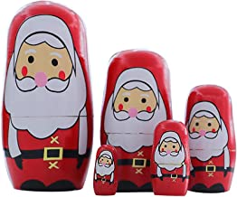 GXOK Christmas Wooden Doll Children's Gift Matryoshka Doll Decoration Supplies Christmas Ornaments Decor