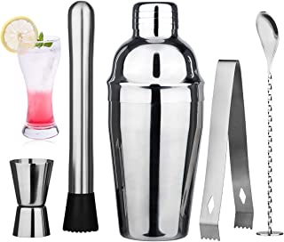 Wepikk Cocktail Shaker Set Bar Tools Mixology Bartender Kit Stainless Steel Drink Mixer Shaker(18.6 oz) Jigger Muddler Ton...