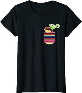 Womens Margarita and Tacos Shirt Serape Pocket Party Mamacita T-Shirt