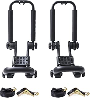 AA Products Double Folding J-Bar Rack for Kayak Carrier Canoe Boat Paddle Board Surfboard Roof Top Mount on Car SUV Truck Crossbar with Ratchet Lashing Straps