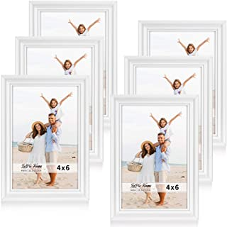LaVie Home 4x6 Picture Frames(6 Pack, White) Single Photo Frame with High Definition Glass for Wall Mount & Table Top Display, Set of 6 Basic Collection
