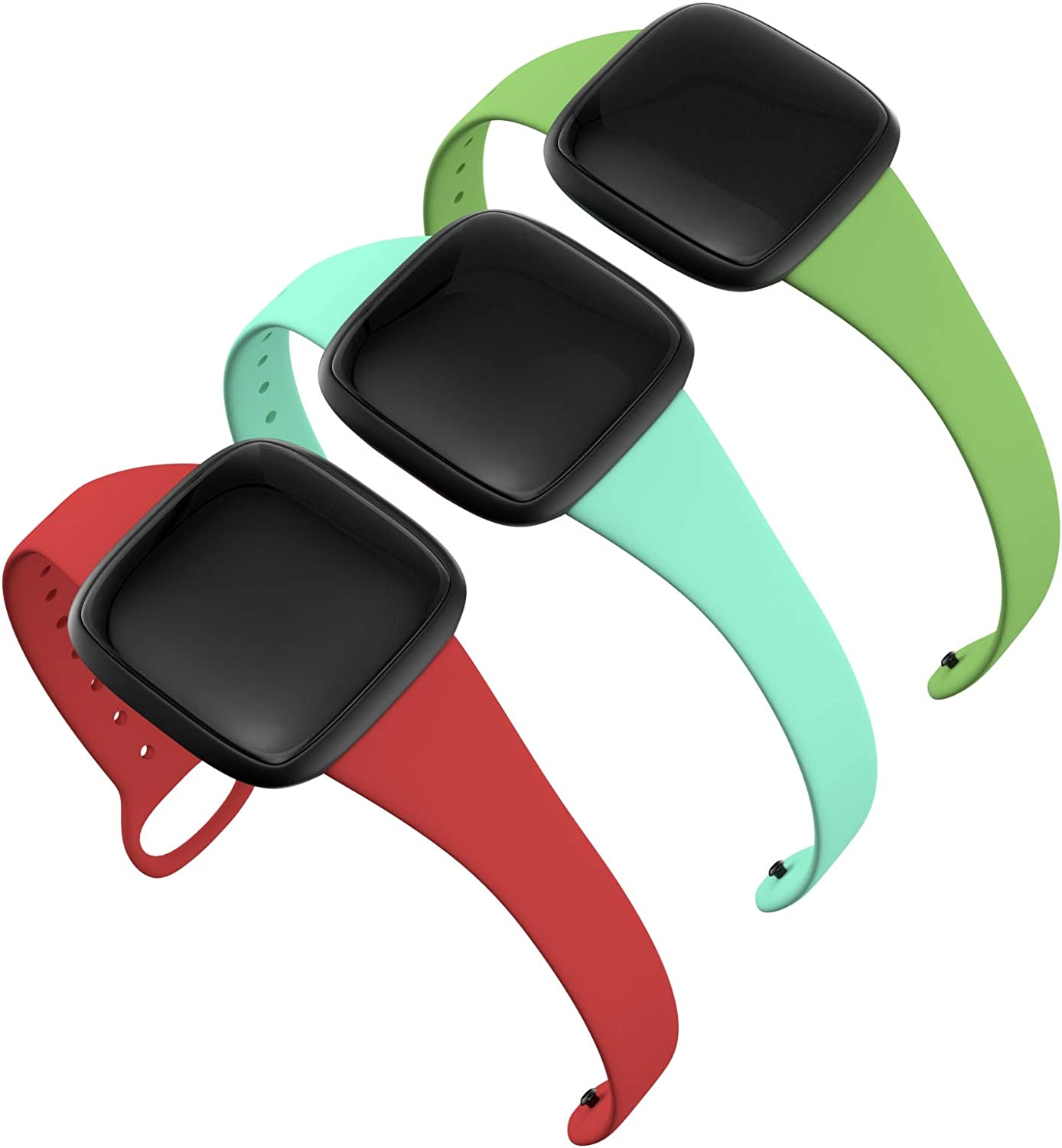 Boname Slim Thin Bands Compatible with Fitbit Versa 3, Women Feminine Narrow Replacement Strap Accessories Silicone Wristbands Fitbit Versa 3 Bands for Women Dressy Cloth (Red/Light Blue/Mint Green)