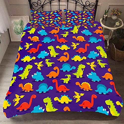 AHJJK Duvet cover set 79 x 79 inchPurple animal dinosaur 3D Printed Microfiber Bedding Duvet Cover with 2x Pillowcases & Zipper Closure Quilt Case for Boy Girl Single Double King Bed