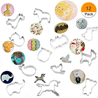 GIPTIME Animal Cookie Cutters, 12 Piece Cute Stainless Steel Animal Cookie Molds Set For Kids, Birthday, Party, Holiday, With 100-Pack Cookie Candy Bags